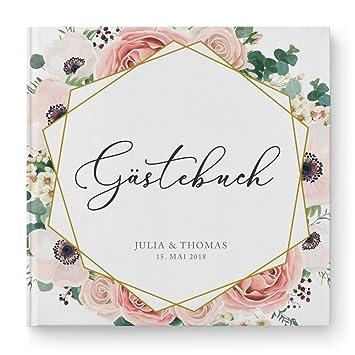 Deinweddingshop Gastebuch Hochzeit Personalisiert Modern Floral Boho