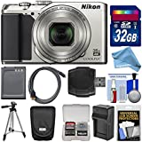 Nikon Coolpix A900 4K Wi-Fi Digital Camera (Silver) with 32GB Card + Case + Battery + Charger & Tripod + DigitalAndMore Free Deluxe Accessory Bundle Kit