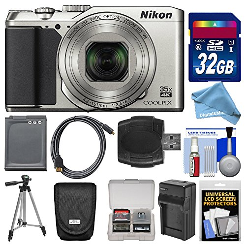 (Nikon Coolpix A900 4K Wi-Fi Digital Camera (Silver) with 32GB Card + Case + Battery + Charger & Tripod + DigitalAndMore Free Deluxe Accessory Bundle)