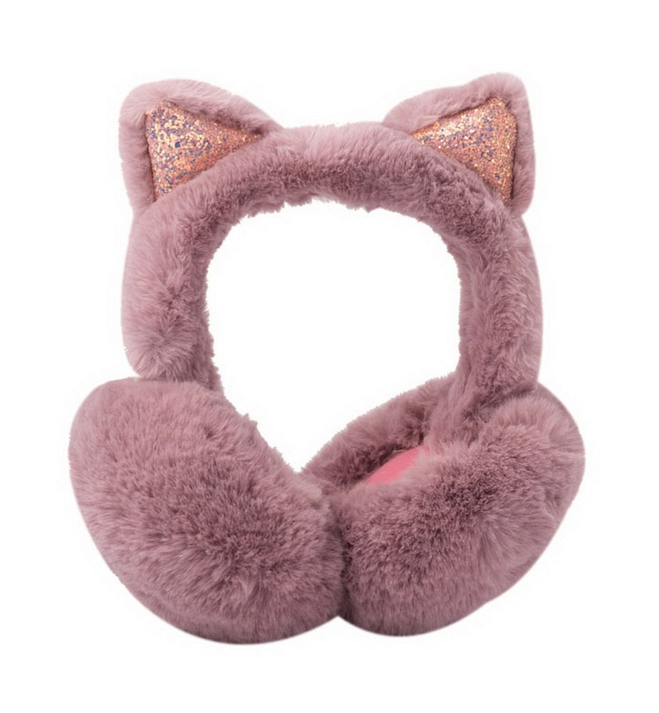 Cute Imitation Cat Ear Earmuffs Winter Warm Cover Collapsible Earmuffs Dark Pink GM-CLO2475021011-ZARA02826