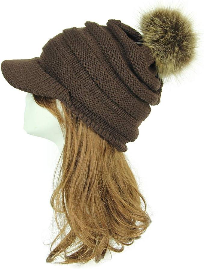 Gorra Plate Mujer Gorros de lana sombrero visera punto invierno ...