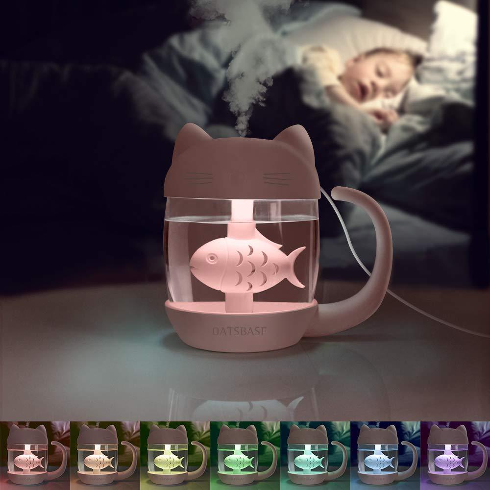 Umidificatore USB Scrivania per Camera Letto Mini Umidificatore 400ml Viaggio Umidificatore Nebbia Fredda Con Luce Notturna 7 Colori Ufficio bianco