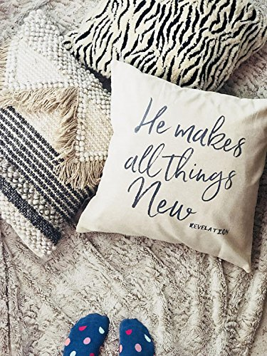 He makes all things new throw pillow cover | pillowcase with bible verse | jesus pillow cover | revelation | spiritual home decor | new year pillow cover | 16x16