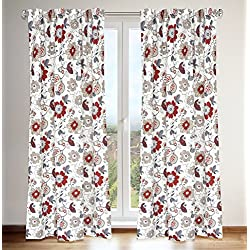 "LJ Home Fashions 432 Tracy Jacobean Floral Print Hidden Tab Top Curtain Panels (Set of 2) 54"" W x 88"" L, White/Grey/Linen Red/Barnyard Red"