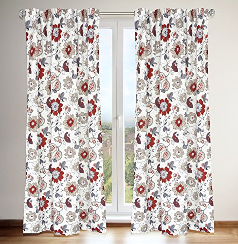 LJ Home Fashions 432 Tracy Jacobean Floral Print Hidden Tab Top Curtain Panels (Set of 2) 54