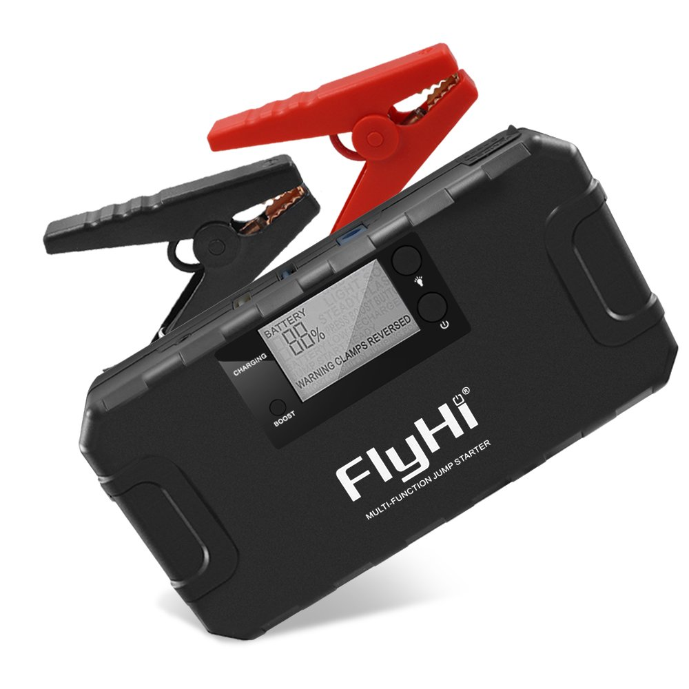 FlyHi 800A 18000mAh Portable Car Jump Starter(Up to 6.5L Gas, 5.2L Diesel Engine) 12V Emergency Battery Booster Pack Built-in Smart Protection, Phone Power Bank(Quick Charge) LED Flashlight
