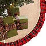 EDLDECCO 48 inch Christmas Tree Skirt Pastoral Style Plaid Black Buffalo Check Ruffle Edge Burlap Tree Skirt a Fine Decoration Gift for Home and Holiday Party
