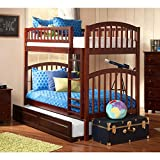 Richland Twin over Twin Bunk Bed | Raised Panel Trundle | Antique Walnut