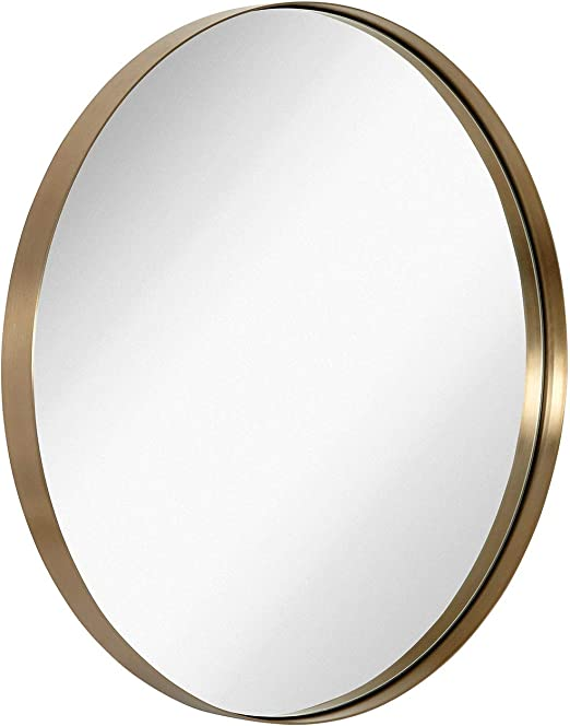 Amazon Com Hamilton Hills Contemporary Brushed Metal Gold Wall Mirror Glass Panel Gold Framed Rounded Circle Deep Set Design 30 Round Home Kitchen