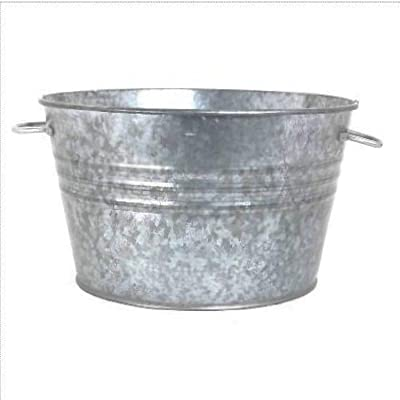 Houston International 6087 19-Inch Steel Planter/Tub, Silver : Galvanized Tub : Garden & Outdoor