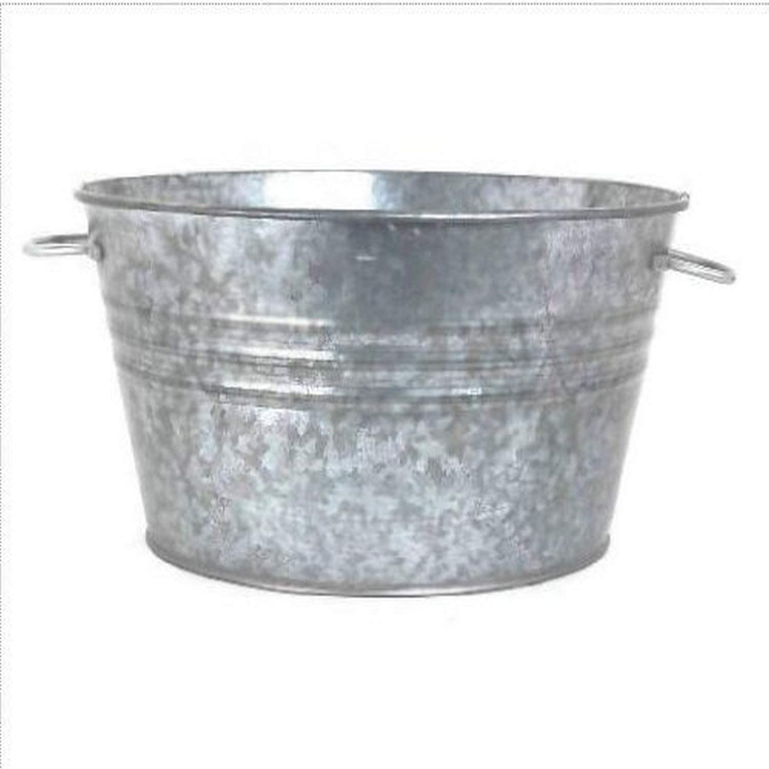 Houston International 6087 19-Inch Steel Planter/Tub, Silver