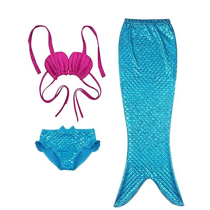 Greetuny 3PCS Bañador Sirena niña Cola de Sirena Playa Bikini con ...