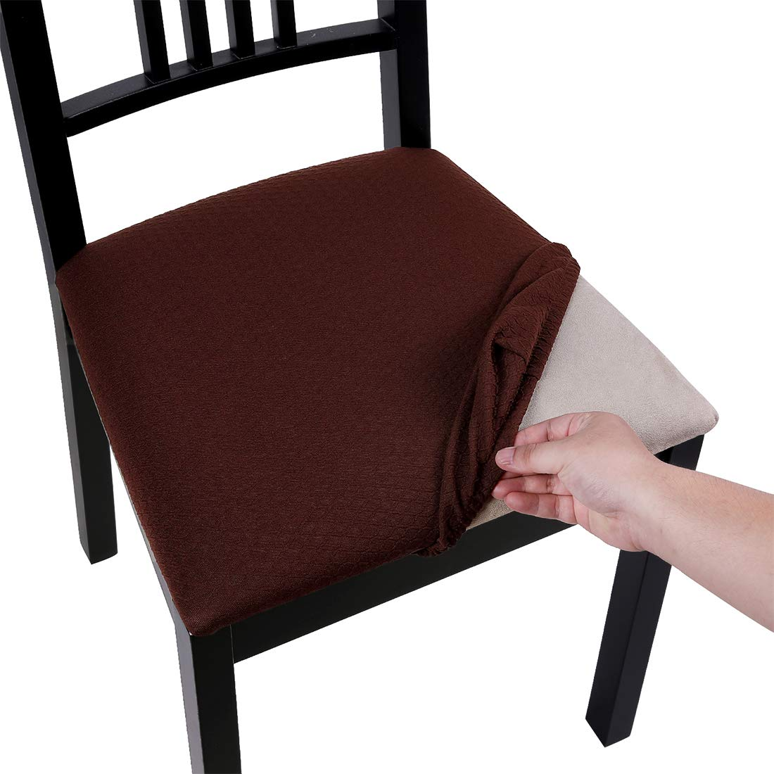 Homaxy Premium Jacquard Dining Room Chair Seat Covers, Washable Spandex Stretch Dinning Chair Upholstered Cushion Cover, Waffle Slipcover Protectors with Ties - Set of 4, Chocolate