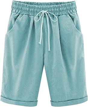 Guiran Pantalones Bermudas Mujer Cintura Elástica Pantalones ...
