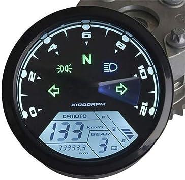 Lylp Motorrad Schwarz Lcd Tachometer Km H Tachometer Gauge W Universal Wasserdicht Schwarz 12000 Rpm 8 18 V Gang Tachometer For Moto Kilometerzähler Sport Freizeit