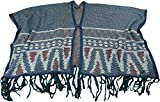 Kiara Ladies Tassel Cape Knitted Poncho Shawl/Wrap (Large/XL, Blue)