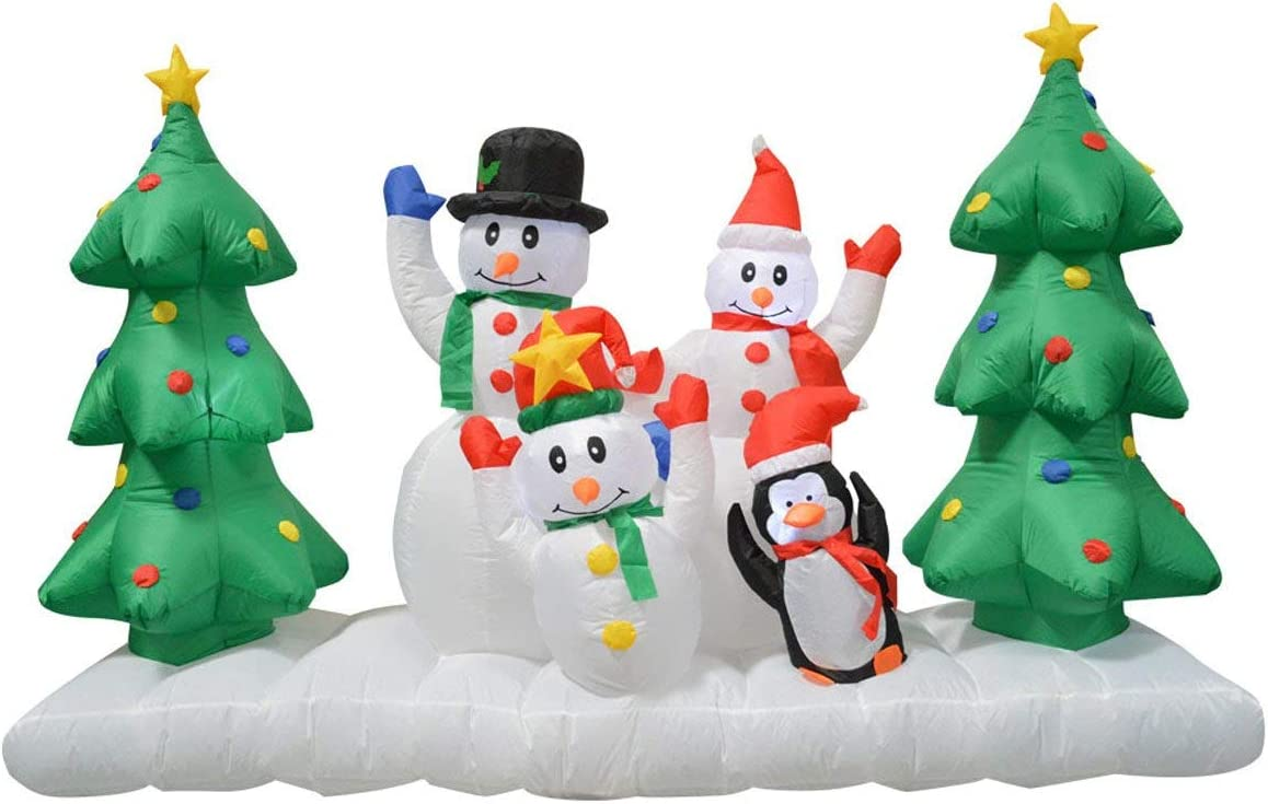 Impact Canopy Inflatable Outdoor Christmas Decoration, Lighted Snowman Family, 8 Feet Wide