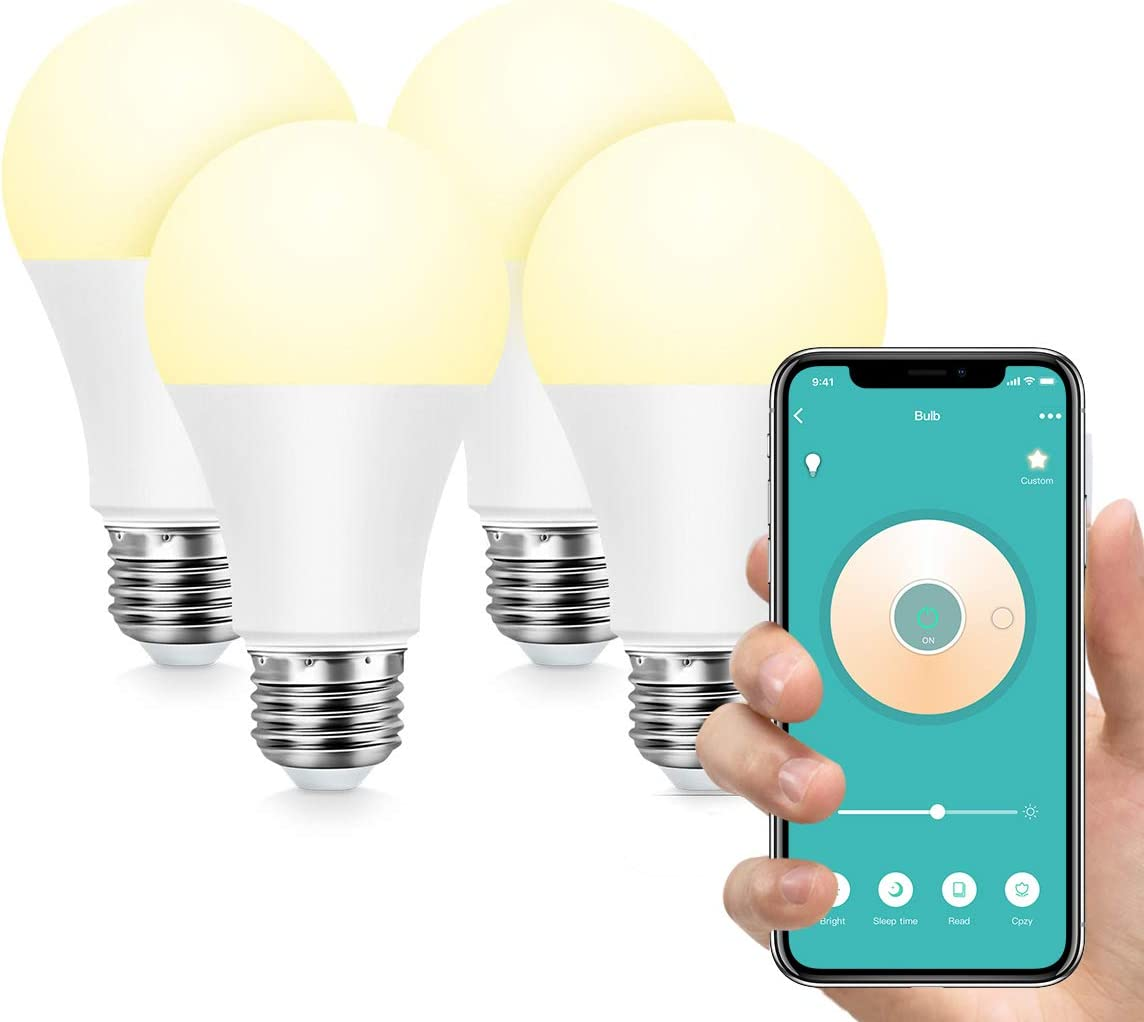 Smart Light Bulb,Konke WiFi LED Bulb Dimmable A19 E26 Compatible wth Alexa,Google Home,Assistant,No Hub Required,4 Pack