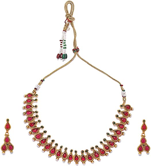Amazon Com Rubans Gold Plated Traditional Indian Jewelry Set