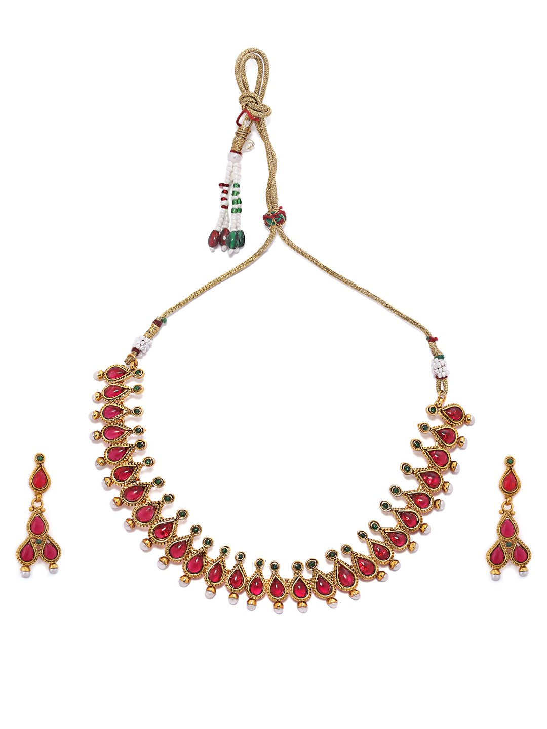 Rubans Gold Plated Traditional Indian Jewelry Set Bollywood Ethnic Wedding Bridal Faux Ruby and Emerald Temple Necklace Set for Women