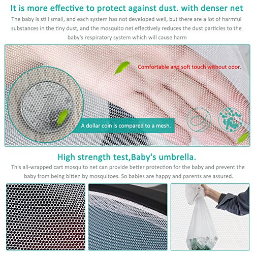 LianLe Universal Baby Mosquito Net For Stroller, Baby Stroller Universal Mosquito Net Sun Shade Anti-UV Foldable Mosquito Net, Pram Bed Cot Car Seat & Pushchair Baby Stroller Insect Net by LianLe (Image #3)