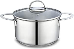 Mr. Right 18/10 Stainless Steel Dutch Oven With Glass Lid,3.5 Quart Sauce Pot with 2 Handles, Multipurpose Pot Casserole Pan Stockpot Induction Compatible Dishwasher Safe Cooking Nickel Free Healthy
