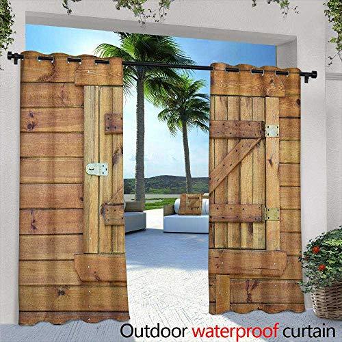 (LOVEEO Shutters Grommet Outdoor Curtains Closed Wooden Shutters Planks Rough Grunge Countryside Classical Design Print Waterproof Patio Door Panel 72
