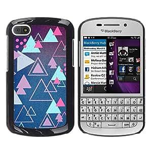YOYOYO Smartphone Protección Defender Duro Negro Funda Imagen Diseño Carcasa Tapa Case Skin Cover Para BlackBerry Q10 - triángulo azul rosado modela juego retro