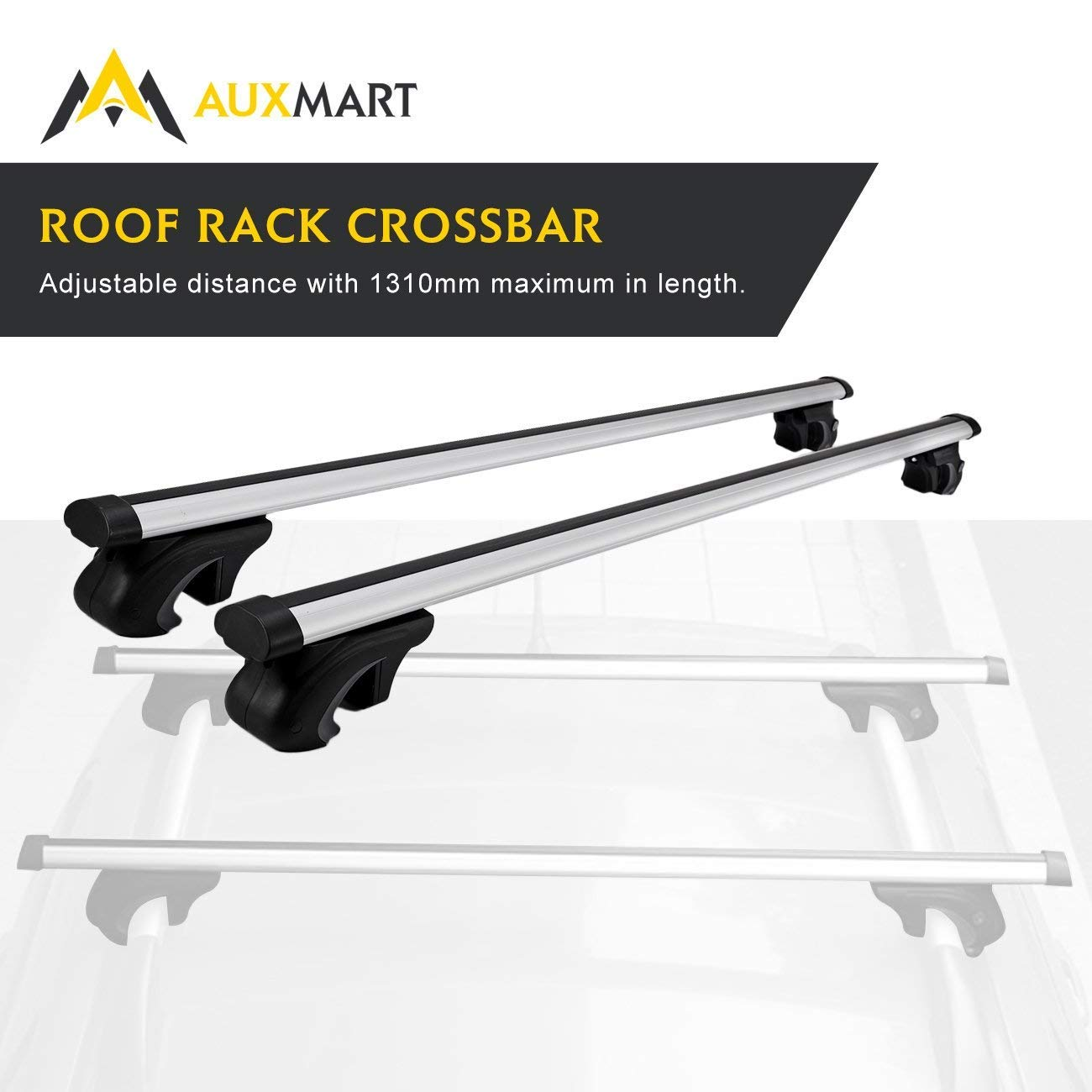 AUXMART 54' Universal Roof Rack Cross Bars - Fit Your Car or SUV with Raised Side Rails (Aluminum)