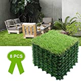 Reliancer 8PCS Artificial Grass Turf Interlocking Grass Tile Lawn Rug for Dogs Puppy Potty Pads Pet Synthetic Square Grass Carpet Golf Mat Outdoor Landscaping Indoor Flooring Decor 12''x12''