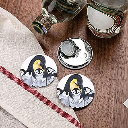 Abridores de botellas redondos con patrón de acuarela de animales pingüinos / imanes de nevera sacacorchos de acero inoxidable pegatina magnética 2 uds