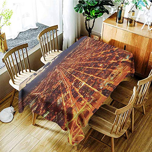 XXANS Custom Tablecloth,City,Chicago Downtown Skyline Aerial Panorama View