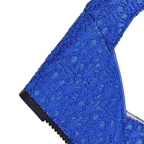 AllhqFashion Mujeres Sólido Peep Cremallera Plataforma y Cuña Azul