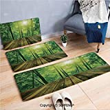 Non-Slip Absorbent Bath Mat Rug Carpet Asia Tropical Decor,Wooden Area and Asian Bamboo Forest with Morning Sunlight Landscape Picture Decorative 3 Piece Water Uptake Anti-Skid Cartoon Carpet