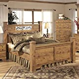 Ashley Bittersweet Wood King Poster Panel Bed in Light Brown