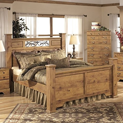 Ashley Bittersweet Wood Queen Poster Panel Bed in Light Brown (Wood Panel Poster Bed)