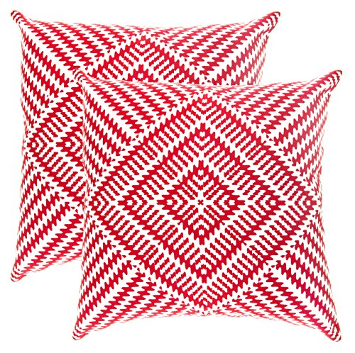 Red Decorative Toss Pillow (TreeWool, (2 Pack) Throw Pillow Covers Kaleidoscope Accent Decorative Pillowcases Toss Pillow Cushion Shams Slips Covers for Sofa Couch (16 x 16 Inches / 40 x 40 cm; Red), White Background)