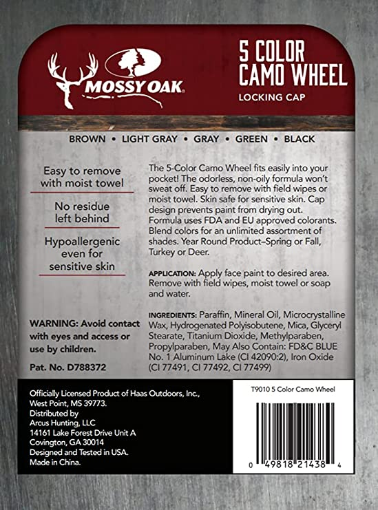 Mossy Oak 5 Color Camo Wheel Face Paint Archery Deer Hunting Accessory
