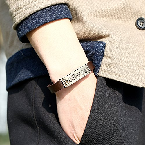 CHOA Vintage Believe Self-Confident Leather Bracelet and I Love Jesus Adjustable Punk leather Bracelet (BELIEVE) by CHOA (Image #1)