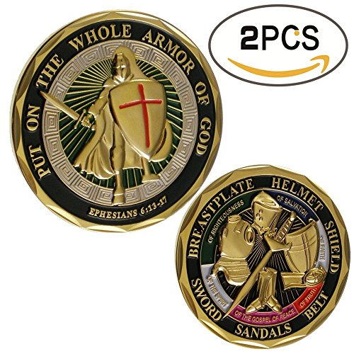 zcccom 2 pcs Set of Challenges Coins Deluxe Collector's Set | God Challenge Coin - Officially Licensed Each Coin Comes w/ a Plastic Round Display Case (God Challenge Coin)