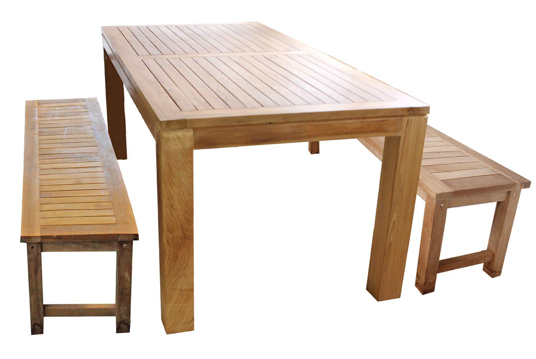 3-teilige Massiv Teakholz Garnitur Teak Esstisch Indoor und Outdoor 180x90x75cm + 2 Teakholz Bänke