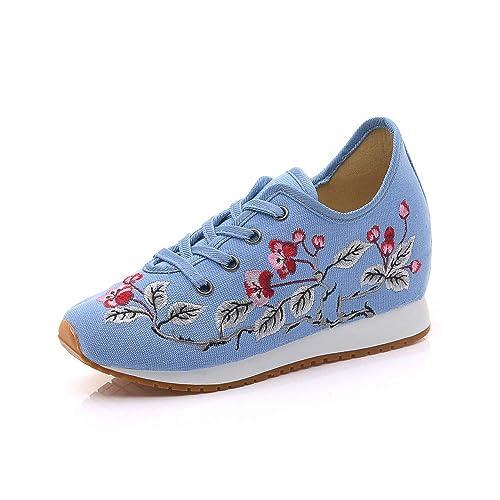 Las Mujeres de Estilo Chino Flor de la pera Bordado Zapatos Casuales Zapatillas de Lona (
