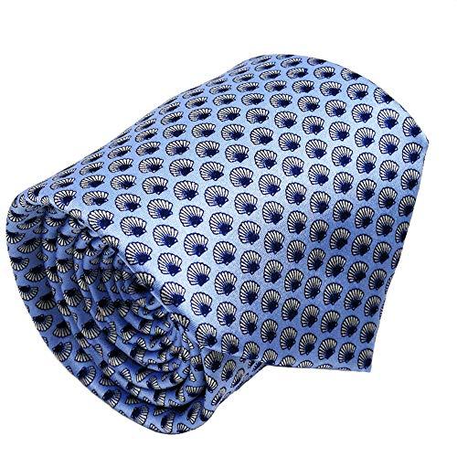 Mens ties silk Necktie men Neck Tie gift boxes luxury Sky blue Seashell by Qobod (ST096)