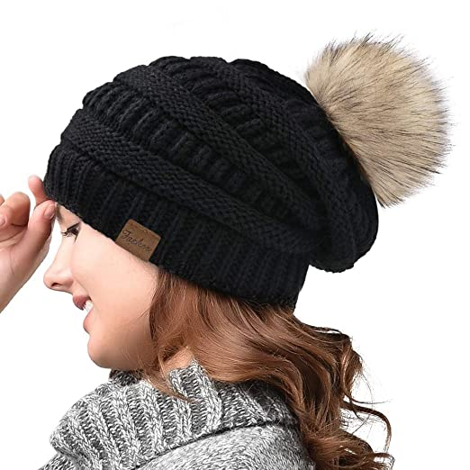 Image Unavailable. Image not available for. Color  Fasker Women Winter Pom  Pom Beanie Hat Warm Cable Knit Slouchy CC ... 0ac037701aa1
