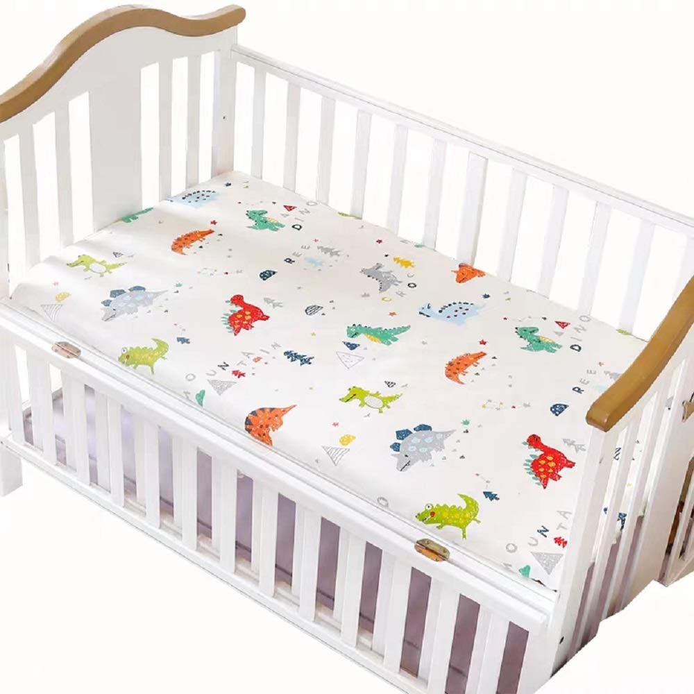 Fitted Crib Sheet- Dinosaur Print 100% Cotton Soft Mattress Sheet for Baby Boy or Girl, 52x 28x 8 Inches