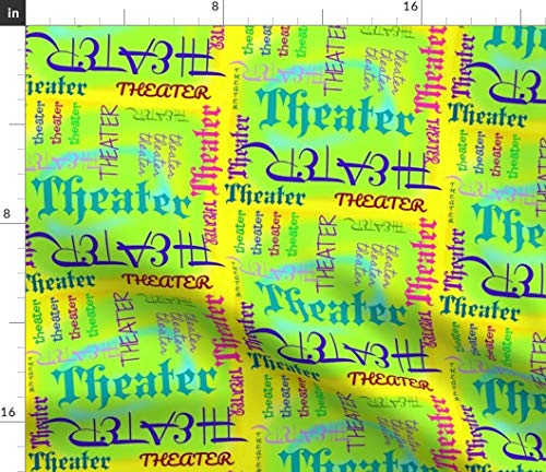 Theater Fabric - I Love Theater! Colorful Lime Green Drama Comedy Acting Actor Words Theatre Print on Fabric by the Yard - Lightweight Cotton Twill for Sewing Bottomweight Fashion Apparel Home Decor
