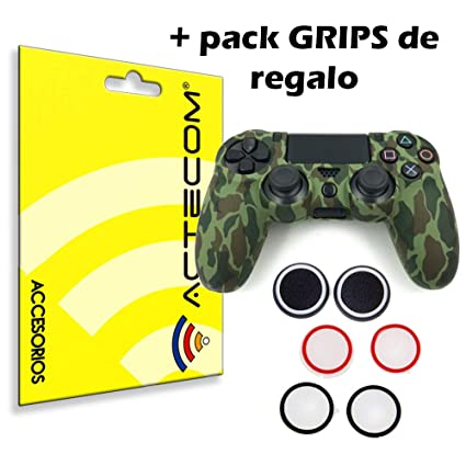 ACTECOM® Funda Carcasa + Grip Silicona Camuflaje Mando Sony PS4 Playstation 4 Camuflaje Verde