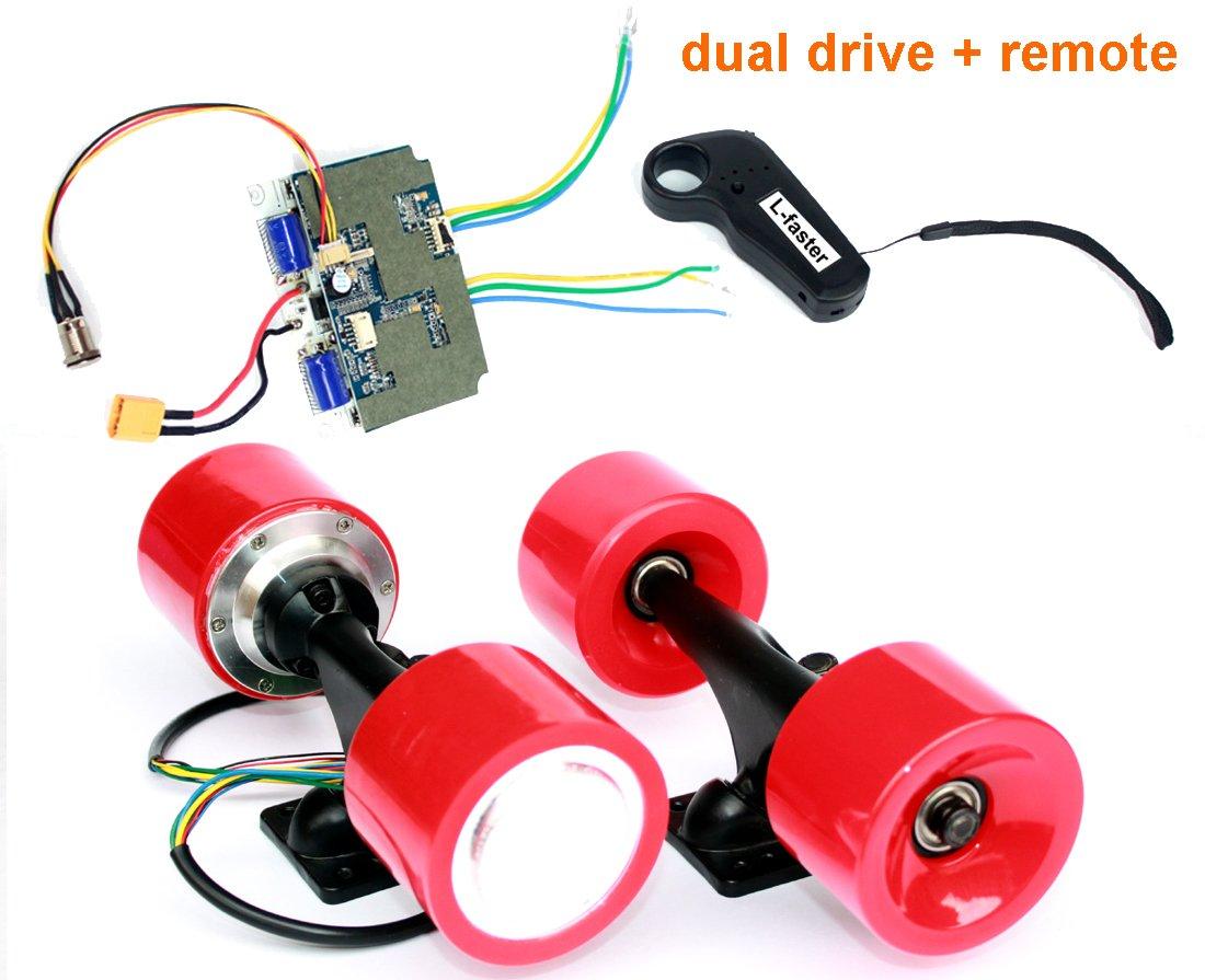 電動スケートボードブラシレスハブモーターキットdiy子e-ボード電動4輪スケートボードデュアルドライブ変換キットでリモート B07F2CXX4MRed kit
