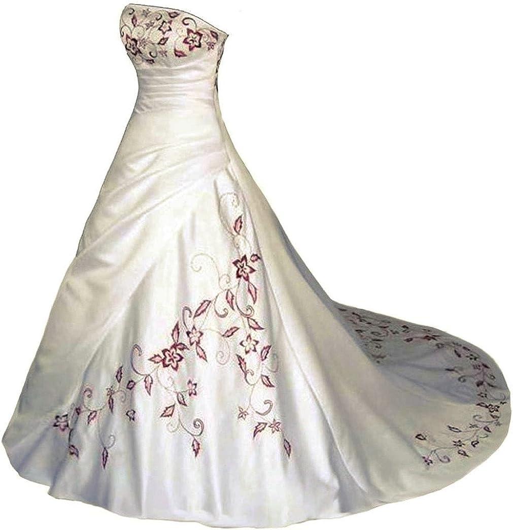Vantexi Trägerlos Rot Stickerei Satin Hochzeitskleid Brautkleid