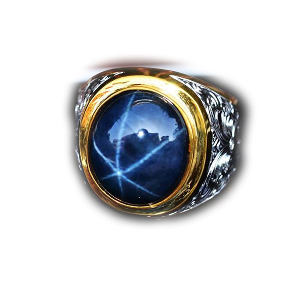 43.52ct Natural Cabochon Blue Stars Sapphire 6 Ray 925 Gold Silver Ring 8US #R